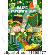 St Patrick Day Leprechaun Gold Coins And Rainbow