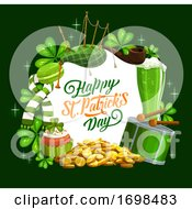 Happy St Patrick Day Banner Irish Bagpipes