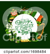 Patricks Day Irish Flag Leprechaun And Shamrock