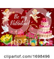 Poster, Art Print Of Valentines Day Greetings Cupids Flower Bouquets