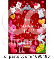 Poster, Art Print Of Happy Valentine Day Calligraphy Heart Balloons