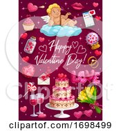 Poster, Art Print Of Greetings On Valentines Day Passion Love Symbols