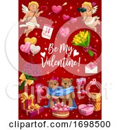 Poster, Art Print Of Be My Valentine Love Hearts Cupids And Flowers
