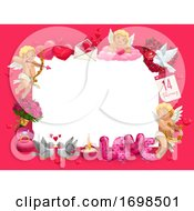 Valentines Day Frame Of Hearts Cupids And Gifts