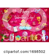 Poster, Art Print Of Valentines Day Love Hearts Cupid Angel Unicorn