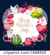 Poster, Art Print Of Valentines Day Greeting Hearts Banner