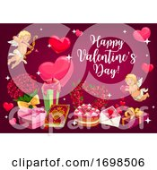 Poster, Art Print Of Valentines Day Love Hearts And Cupids