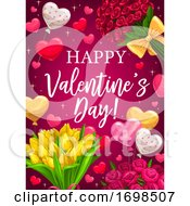 Poster, Art Print Of Valentines Day Red Flowers And Heart Balloons