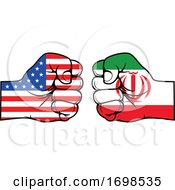 Poster, Art Print Of America And Iran Flag Fists