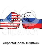 America And Russia Flag Fists