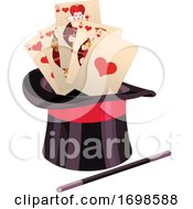 Top Hat With A Magic Wand And Playing Cards
