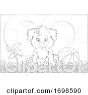 Poster, Art Print Of Puppy Sitting On Grass Next To A Ball And Pinwheel