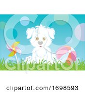 Puppy Sitting On Grass Next To A Ball And Pinwheel