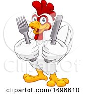Chicken Rooster Cockerel Knife And Fork Cartoon
