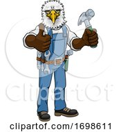 Poster, Art Print Of Eagle Mascot Carpenter Handyman Holding Hammer