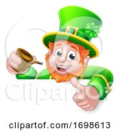 Leprechaun St Patricks Day Cartoon Pipe Sign