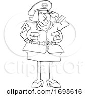 Cartoon Army Woman Saluting