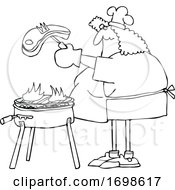 Cartoon Chubby Woman Cooking A Steak On A BBQ Grill