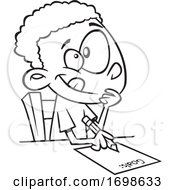 Poster, Art Print Of Black And White Boy Writing Down His Goals