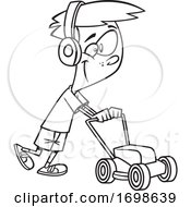 Poster, Art Print Of Black And White Happy Boy Mowing