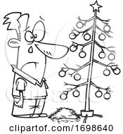 Black And White Sad Man Crying Over A Dead Christmas Tree