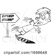 Black And White Runner Boy Tripping Over A Speed Bump