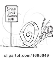 Black And White Snail Passing A Speed Limit Sign