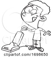 Poster, Art Print Of Black And White Happy Boy Vacuuming