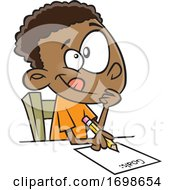 Cartoon Boy Writing Down His Goals