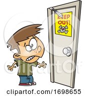 Cartoon Boy Looking At A Knife Through A Keep Out Sign On A Door