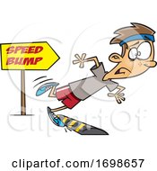 Cartoon Runner Boy Tripping Over A Speed Bump