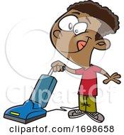 Poster, Art Print Of Cartoon Happy Boy Vacuuming