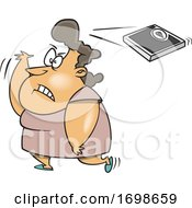 Cartoon Fat Woman Throwing A Scale Over Her Shoulder