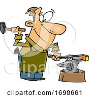 Cartoon Happy Blacksmith Working On An Anvil