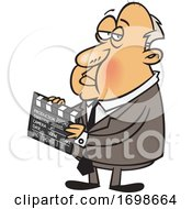 Cartoon Of Alfred Hitchcock Holding A Clapperboard