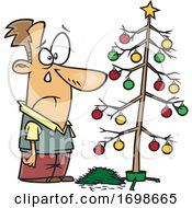 Cartoon Sad Man Crying Over A Dead Christmas Tree