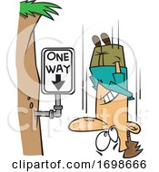 Cartoon Falling Man Passing A One Way Sign