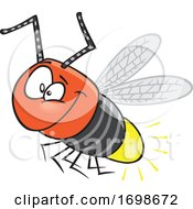 Cartoon Happy Firefly Bug