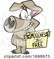 Poster, Art Print Of Cartoon Pig Offering Free Smooches