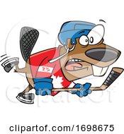 Cartoon Beaver Playing Hockey