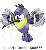 Cartoon Purple Hummingbird