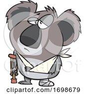 Cartoon Injured Koala With An Arm Sling And Crutch