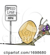 Cartoon Snail Passing A Speed Limit Sign