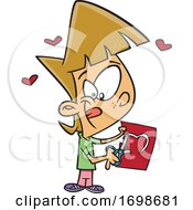 Cartoon Little Girl Cutting A Heart In A Valentines Day Card