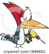 Cartoon Woodpecker Holding A Power Drill