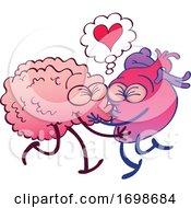 Poster, Art Print Of Cartoon Human Hearts Kissing