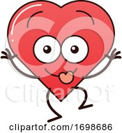 Cartoon Love Heart Character Making Funny Faces
