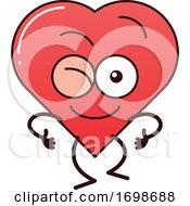 Poster, Art Print Of Cartoon Love Heart Character Winking