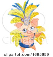 Poster, Art Print Of Cute Samba Or Burlesque Dancer Pig