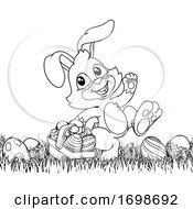 Poster, Art Print Of Easter Bunny Rabbit Eggs Basket Background Cartoon